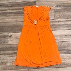 Trina Turk medallion keyhole orange dress